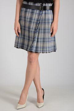 Virgin Wool Checked a-Line Skirt