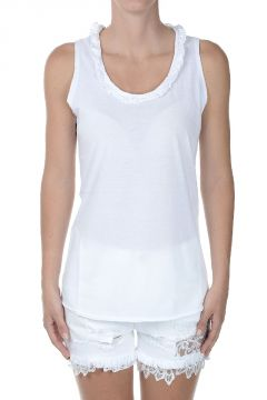 Cotton Tank Top with Frills