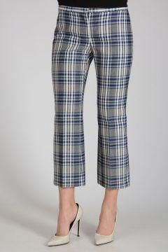 Checked Virgin Wool Capri Pants