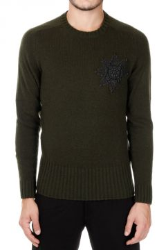 Wool Crew Neck Sweater with Star Detail