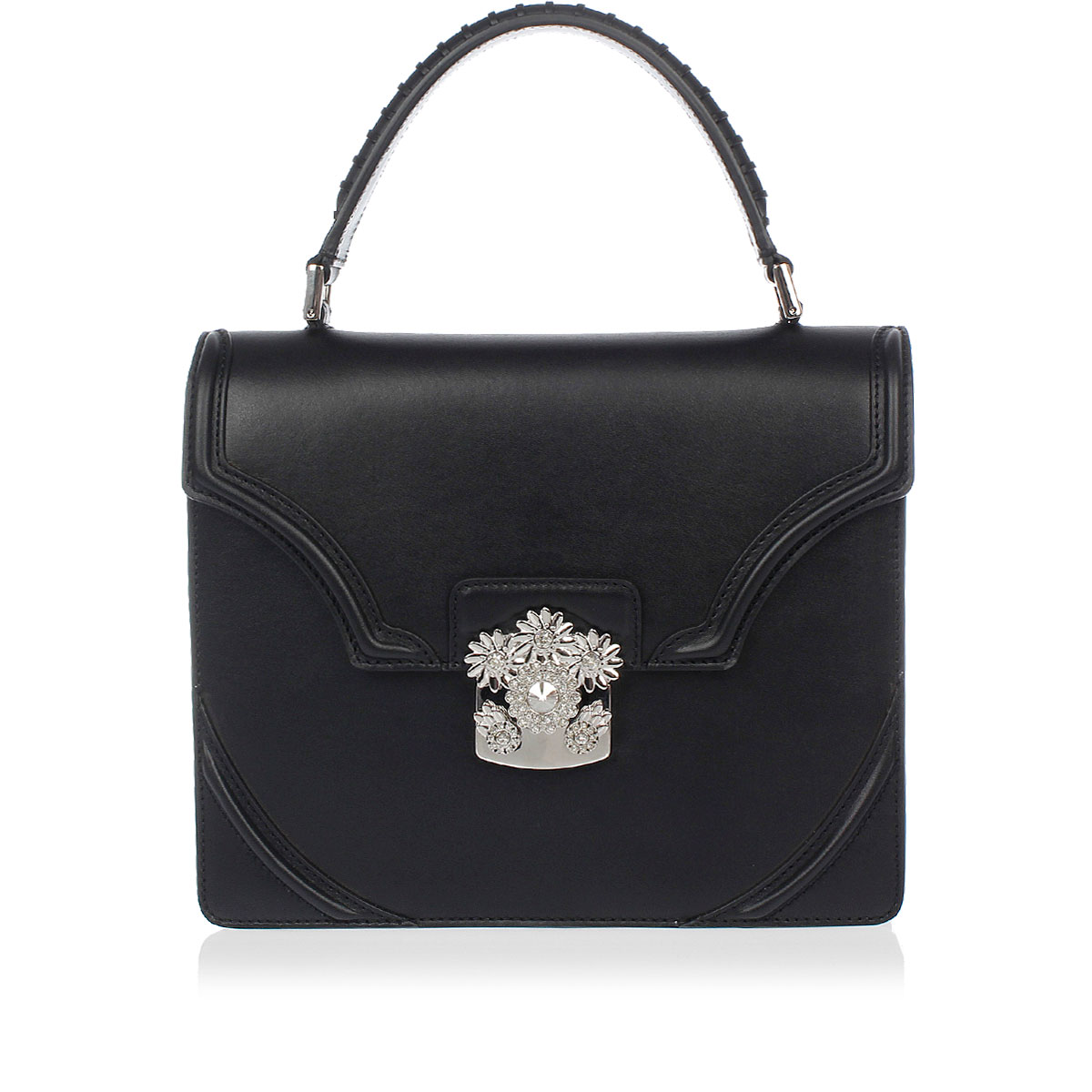 74871875fa ALEXANDER MCQUEEN Women Leather Satchel Bag with Floral Jewel ...