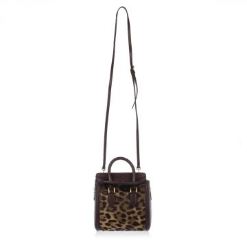 Calf Leather Small Bowler Bag with Printed Calf-fur