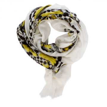 Foulard FEATHER CIRCLE in Misto Seta 138 x 138 cm