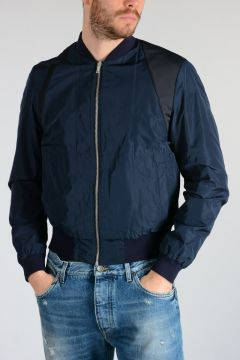Bicolor Fabric Bomber Jacket