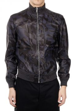 Suede Leather And Reversible Camouflage Print Jacket