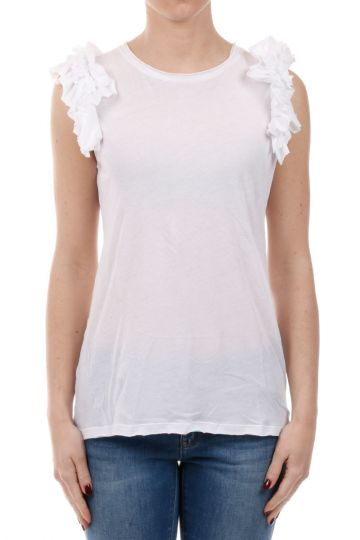 Cotton Sleeveless T-Shirt with Applications