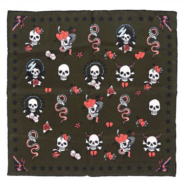 Foulard SKULL TATTOO in Seta 45x45 cm