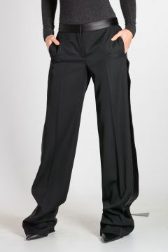 Pantaloni in Lana Vergine con Dettagli in Pelle