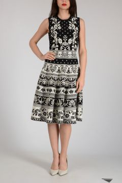 Flared Long Embroidered Dress