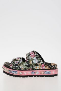 Leather Floral Printed Slipped