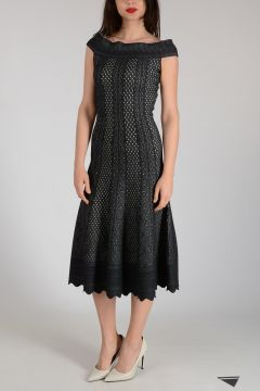 Mixed Silk Flared Long Dress