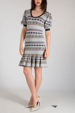 Mixed Silk Embroidered Dress