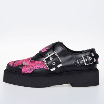 Leather Butterfly Embroidery Shoes