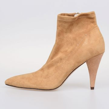 9 cm Suede Leather Ankle Boots With Heel