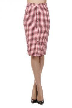 Checked Stretch Cotton Pencil Skirt