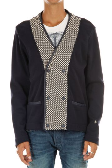 Cashmere-Cotton Cardigan with Leather Details