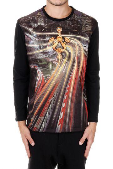 T-shirt girocollo Stampata  a Manica Lunga