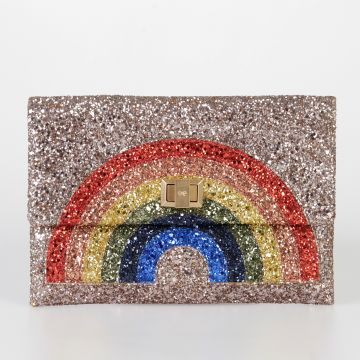 Leather Glitter Rainbow Pochette