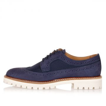 Leather and Fabric Brogue Derby Schoes