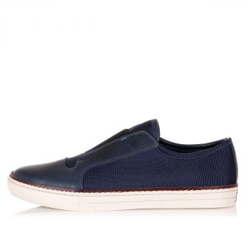 Sneakers Slip On in Pelle e Tessuto