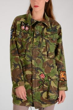 Camouflage Embroidered Parka with Strass