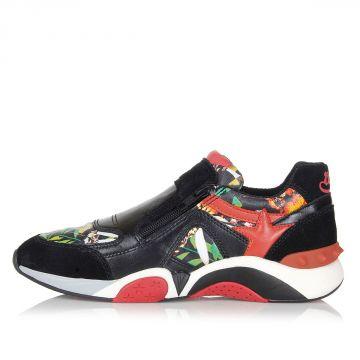 Sneakers in Camoscio e Tessuto con Zip
