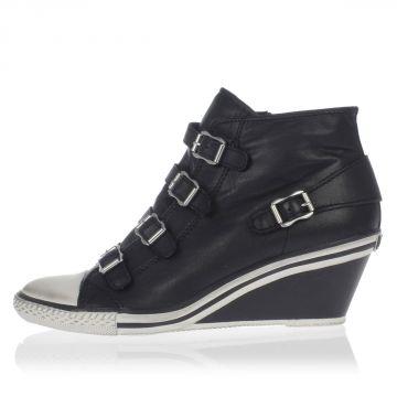 GENIAL Leather Wedge Sneakers