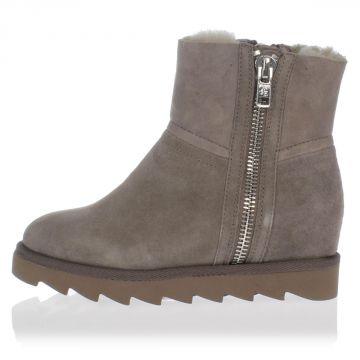 YANG Suede Ankle shearling Boots with lateral Zip