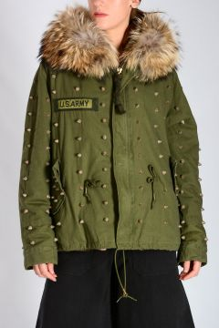 Studded Cotton Blend & Fur Parka