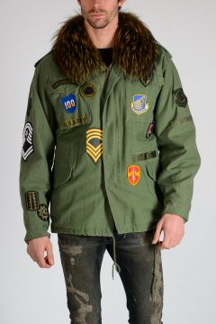 Cotton & Fur Parka with Patches