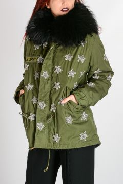 Cotton Blend & Fur Parka with Rhinestones