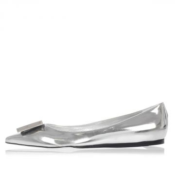 Leather AIDA METALLIC Flat Shoes with Application