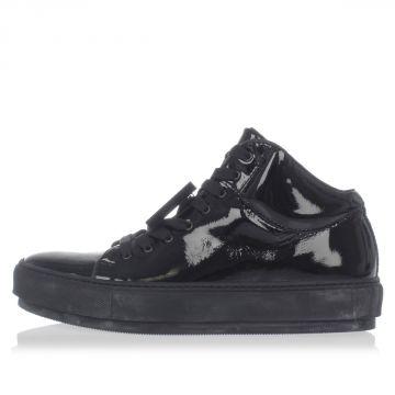 Sneakers Alte CLEO PATENT in Pelle con Applicazione Removibile