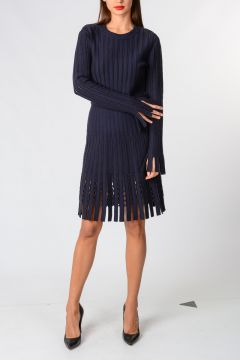Virgin Wool Blend Dress With Fringes