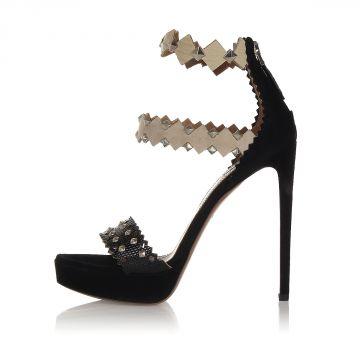 14 cm Heel Studded Suede Sandals