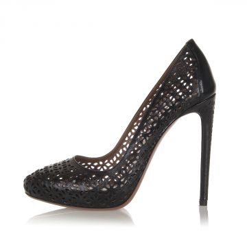 Perforated Leather Pumps with Heel 12.5 cm