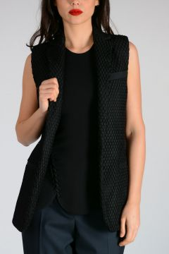 Wool Blend Net Covered Waistcoat
