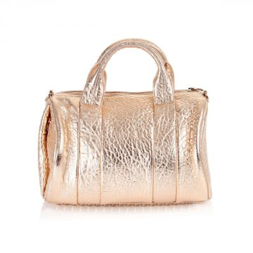 Stumbled leather hand bag glitter effect