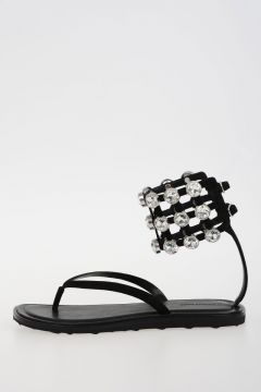 Leather Strass Sandals