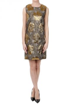 Brocade Fabric Crew Neck Dress