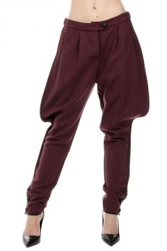 Asymmetric Cut Virgin Wool Blend Trousers