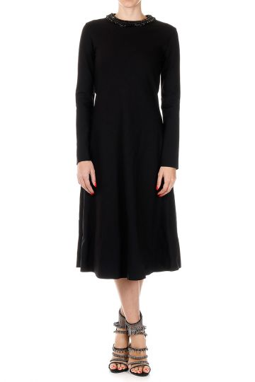 Long EMBROIDERED Dress with Jewel Inserts