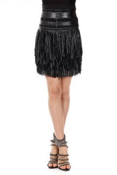 FRINGED ECOLEATHER Skirt