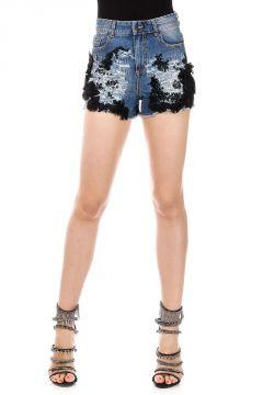 Shorts in Denim con Applicazioni