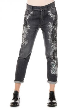 15 cm Denim EMBROIDERED FISH Jeans with Sequins