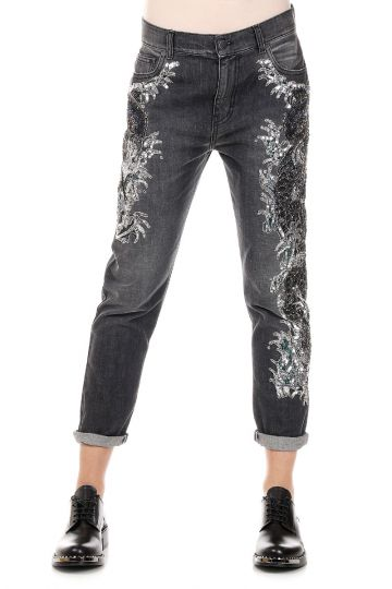 Jeans EMBROIDERED FISH in Denim con Paillettes 15 cm