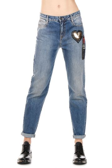 Jeans in Denim con Strass Applicati 16 cm