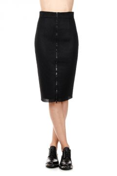 TECHNO NET MIDI Pencil Skirt