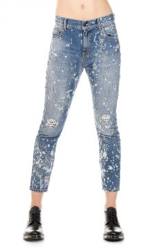 Jeans EMBROIDERED STONE LUPARA in Denim 13 cm