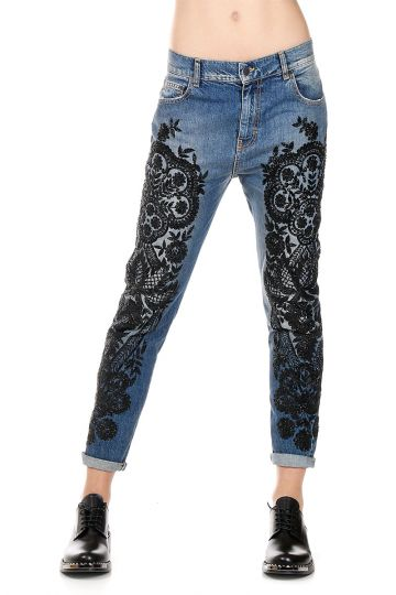 Jeans EMBROIDERED JAIS in Denim con Perline 15 cm
